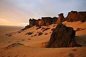 Oued Tin Tarabine  Tassili Ahaggar at sunset  Algeria
