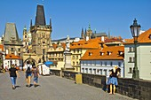 Mala Strana end of Charles Bridge central Prague Czech Republic EU