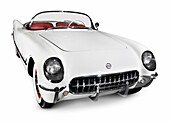 White 1953 Chevrolet Corvette C1 Convertible isolated on white background with clipping path