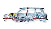 Cross section of automobile body showing safety features, reinforced frame and air bags  Isolated with clipping path on white background