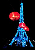 Chinese Lantern Festival in Toronto  Eiffel tower symbol of France  Colorful magnificent illumination glowing at night  Ontario Place, Toronto, Ontario, Canada 2008