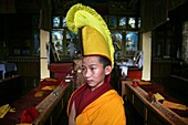 Portrait of a young monk  Buddhist monks are living in monastries in and around Kathmandu  Many are illegal refugees from Tibet but live quietly within the walls of their temples