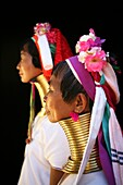 Profiles of two Longneck women  Approximately 300 Burmese refugees in Thailand are members of the indigenous group known as the Longnecks  The largest of the three villages where the Longnecks live is called Nai Soi, located near Mae Hong Son City  Longne