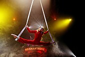 elodie is 11 years old en upcoming star at circus renz  she is a acrobate and is practicing in the circus tent  she is still too young to perform in the piste during a performance
