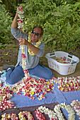 Man producing Lei at Akaka Falls State Park, Big Island, Hawaii, USA, America