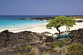 Küstenlandschaft mit Strand im Sonnenlicht, Kekaha Kai State Park, Big Island, Hawaii, USA, Amerika