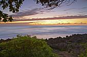 Coast area and ocean at sunset, North Shore, Turtle Bay, Oahu, Hawaii, USA, America
