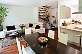 Open-plan living area, single-family house, Hamburg, Germany