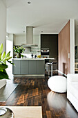 Open living area with kitchen, Hamburg, Germany