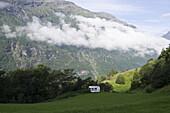 Lone Caravan on Mountainside Meadow, Geiranger, More og Romsdal, Norway, Europe