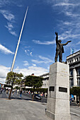 Statue of Jim Larkin and the Spire, O'Connell Street, Dublin, County Dublin, Ireland