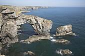 The Green Bridge of Wales, St Govans, Pembrokeshire coast national park, Wales