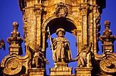 sculpture of St  James the Apostle, in Santiago Cathedral  Detail of main facade by Casas Novoa 1740  Santiago de Compostela Coruña province Spain  Camino de Santiago