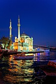 Mecidiye Ortakoy mosque and Bosphorus Strait  In background Bosphorus Bridge Bogazici bridge  At Ortaköy district  Istanbul  Turkey