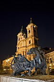 Eger, Hungary  Dobo Istvan monument in front of the Minorite Church  Dobo Istvan is on of the Hungarian national heros  With very few citizens he defended Eger successfully against the tukish army in the ottoman war of 1552  Nightshoot during full moon