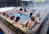 Russians enjoying hot bath at Ozerki hot springs in Petropavlovsk-Kamchatsky in Kamchatka Russia 2008