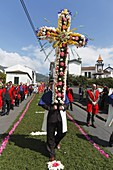 The catholic Procession of Our Lord of the Sick Procissao do Senhor dos Enfermos, in the parish of Furnas  Sao Miguel island, Azores, Portugal