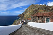 Visitors at Ponta do Castelo, in Santa Maria island, Azores, Portugal