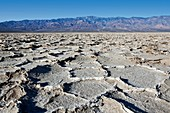 Badwater Basin and mountains in Death Valley National Park, California