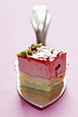 Sweet cakes from a patisserie  Strawberry gateau on serving slicer
