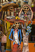 Detailed figurines on sale for the Day of the Dead celebration, San Miguel de Allende, Guanajuato, Mexico