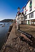 England Devon Dartmouth Bayard´s Cove decorated for Dartmouth regatta celebrations