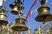 Devotion bells at the temple of Mahakala sacred to both Hindus and Buddhists, Observatory Hill, Darjeeling, West Bengal, India