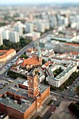 Aerial view from the TV Tower of the City Hall and Nikolaikirche focus on the City Hall, Berlin, Germany  Tilted lens used for a shallower depth of field and to create, combined with the aerial view, a miniaturization effect