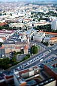 Aerial view from the TV Tower of Judenstrasse and the Altes Stadthaus focus, Berlin, Germany  Tilted lens used for a shallower depth of field and to create, combined with the aerial view, a miniaturization effect