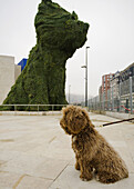 On background´Puppy´, sculpture by Jeff Koons, in front of Guggenheim Museum by Frank O. Gehry. Bilbao. Biscay, Spain