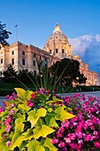 Floral display in front of the Minnesota State capitol building  The building was designed by Cass Gilbert  The unsupported dome is the second largest in the world, after Saint Peter´s  Work began in on the capitol in 1896, and construction was completed