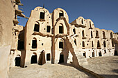 Africa, Architecture, Building, Buildings, Color, Colour, Daytime, exterior, Ghorfa, Ghorfas, Granaries, Granary, Horizontal, Ksar, Ksar Ouled Soltane, Ksars, North Africa, outdoor, outdoors, outside, Stairs, Steps, Travel, Travels, Tunisia, Typical, Worl