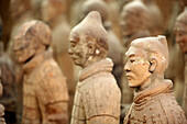 Archaeology, Army, Art, Arts, Asia, China, Color, Colour, Historic, Historical, History, Horizontal, indoor, indoors, interior, Line, Lines, Mausoleum, Mausoleums, power, Row, Rows, Sculpture, Sculptures, Selective focus, Shaanxi, Shanxi, Shensi, Sian, So