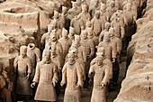 Archaeology, Army, Art, Arts, Asia, China, Color, Colour, From above, Historic, Historical, History, Horizontal, indoor, indoors, interior, Line, Lines, Many, Mausoleum, Mausoleums, power, Row, Rows, Sculpture, Sculptures, Shaanxi, Shanxi, Shensi, Sian, S