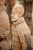 Archaeology, Army, Art, Arts, Asia, China, Color, Colour, Historic, Historical, History, indoor, indoors, interior, Line, Lines, Mausoleum, Mausoleums, power, Row, Rows, Sculpture, Sculptures, Selective focus, Shaanxi, Shanxi, Shensi, Sian, Soldier, Soldi