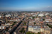 aerial view over the city of liverpool and roman catholic cathedral merseyside england uk