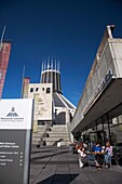 coffee shop and entrance to Liverpools metropolitan catholic cathedral of christ the king merseyside england uk