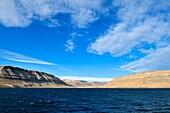 mountain and sedimentary rocks at Cuming Inlet, Devon Island, Northwest Passage, Nunavut, Canada, Arctic