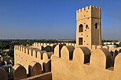 wind tower at the historic adobe fortification Al Faiqain Fort or Castle near Manah, Dakhliyah Region, Sultanate of Oman, Arabia, Middle East