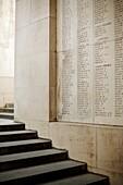 Memorial at the Menen Bridge in Ypres or Ieper in Belgium to soldiers killed in World War One