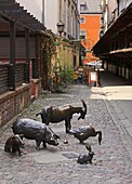 Bronze monument to animals we eat, former slaughterhouse place, Wroclaw, Poland