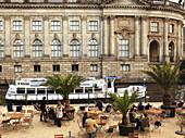 Germany, Berlin, Bode Museum, riverside cafe, sightseeing boat