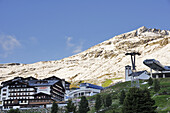 Hotels and ski lifts in front of mountains, Hochgurgl, Oetztal valley, Oetztal mountain range, Tyrol, Austria