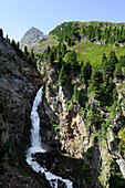 Rotmoosache waterfall, Gurgl, Oetztal mountain range, Oetztal, Tyrol, Austria