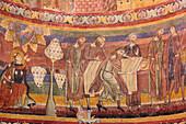 Fresco in St. John's church, Carolingian frescos, Muestair cloister, Muestair, UNESCO World Heritage Site Muestair, Engadin, Grisons, Switzerland