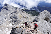 Mountaineers descending from Triglav to Triglav hut , Triglav, Triglav national park, Julian alps, Slovenia