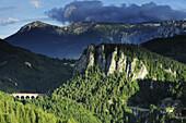 Train passing Kalte Rinn viaduct, Rax mountain range in background, Semmering railway, UNESCO World Heritage Site Semmering railway, Lower Austria, Austria