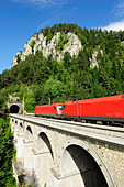 Train passing Krauselklause-viaduct, Semmering railway, UNESCO World Heritage Site Semmering railway, Lower Austria, Austria