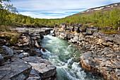 Fluß Abiskojåkka, Abisko Nationalpark, Lappland, Nordschweden, Schweden