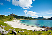 Haukland beach, Vestvågøya island, Lofoten Islands, North Norway, Norway